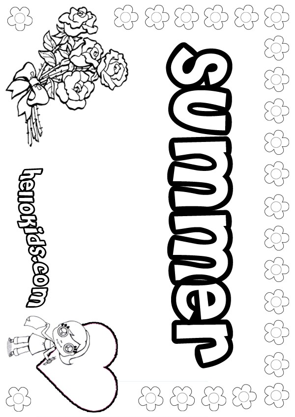 girls name coloring pages, Summer girly name to color