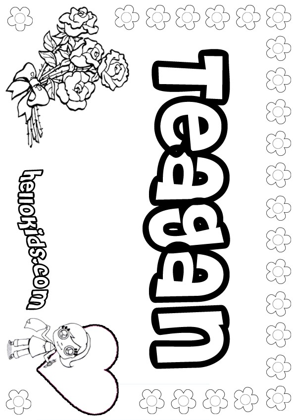 girls name coloring pages, Teagan girly name to color
