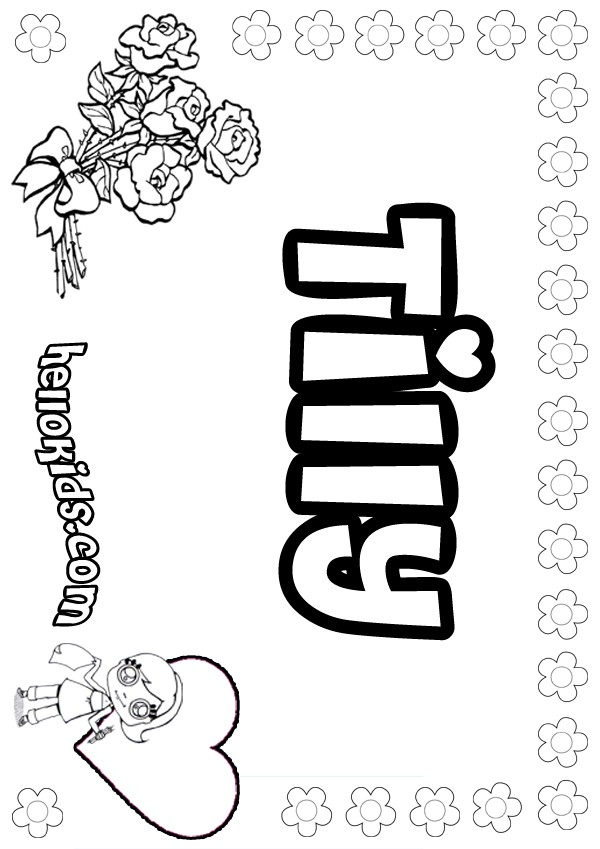 girls name coloring pages, Tilly girly name to color