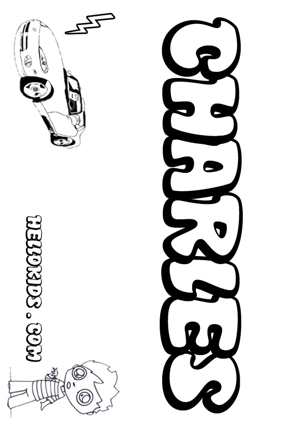 kids name coloring pages, Charles boy name to color