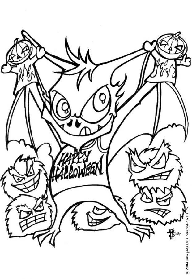 black bats coloring pages  dreadful bat monster