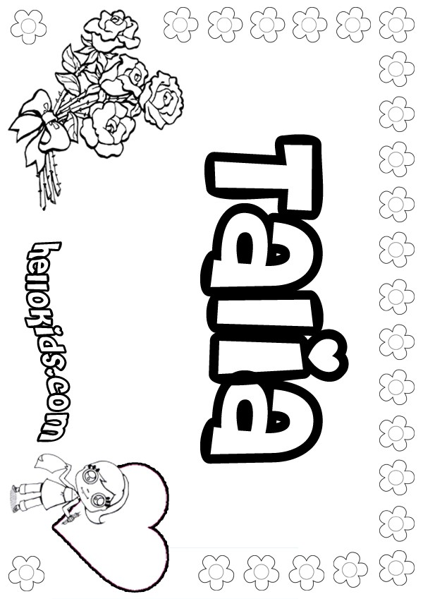 Girls Name Coloring Pages Talia Girly Name To Color