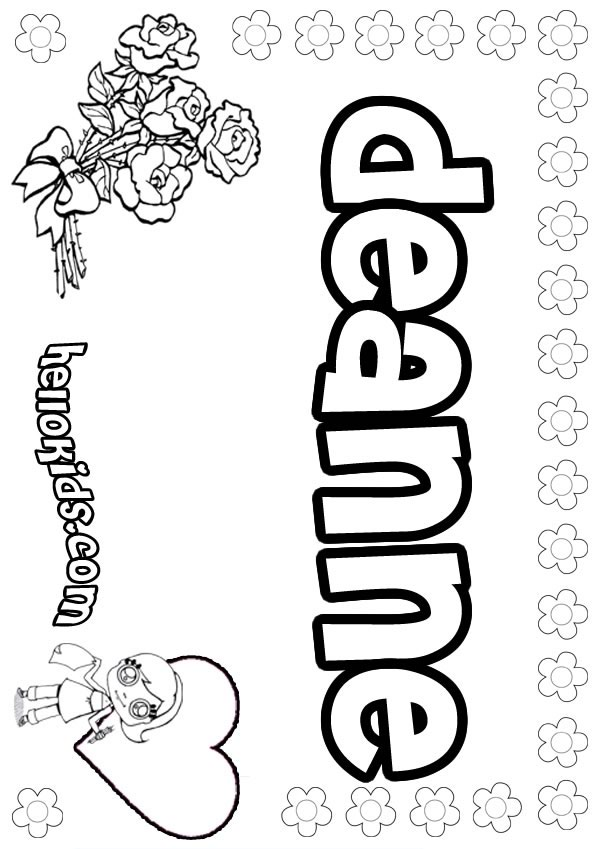 Girls Name Coloring Pages Deanne Girly Name To Color