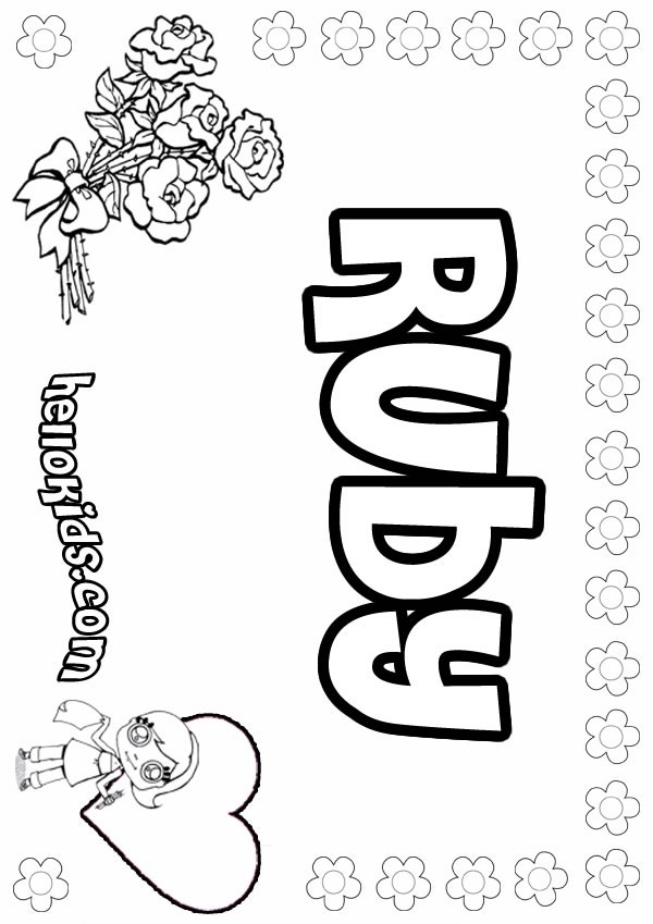 girls name coloring pages, Ruby girly name to color