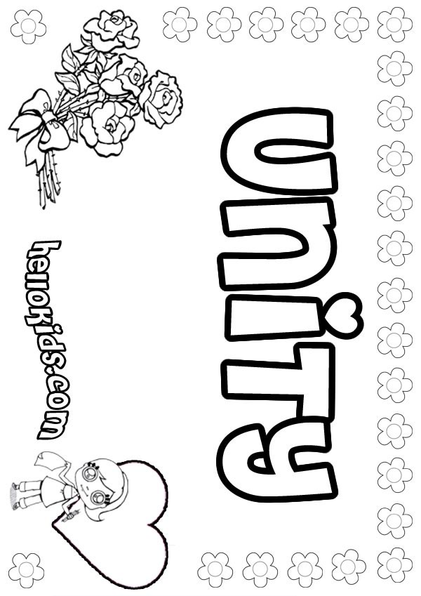 girls name coloring pages, Unity girly name to color
