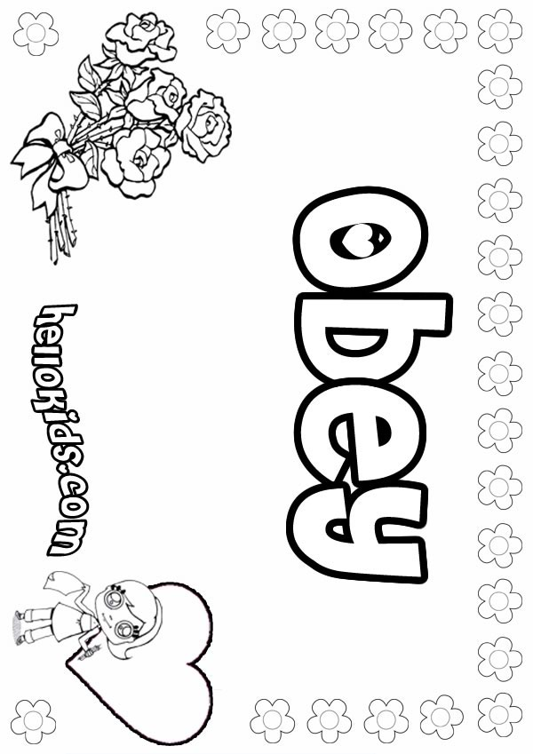 girls name coloring pages, Obey girly name to color