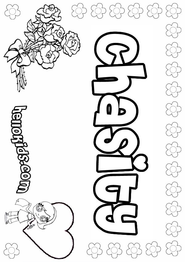 girls name coloring pages, Chasity girly name to color