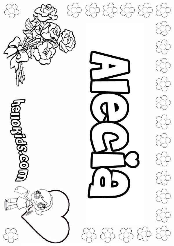 girls name coloring pages, Alecia girly name to color