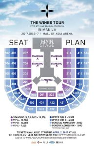 Ticket Prices And Seating Plan For Bts Wings Tour In