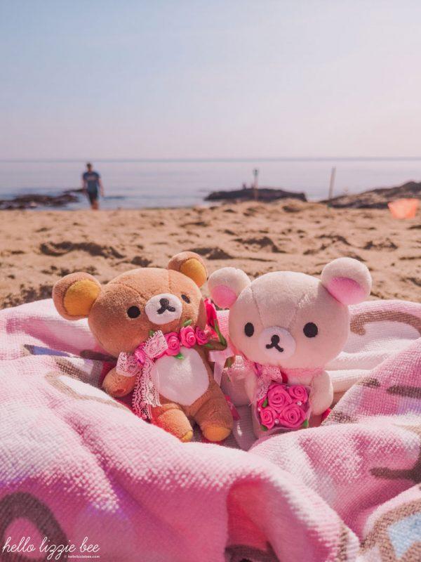 Rilakkuma and Korilakkuma plushies on holiday at the beach in Cornwall by hellolizziebee