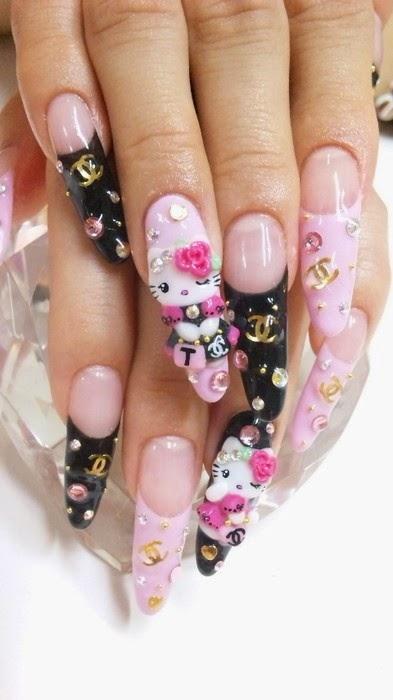 Hello Kitty and Chanel nail art inspiration