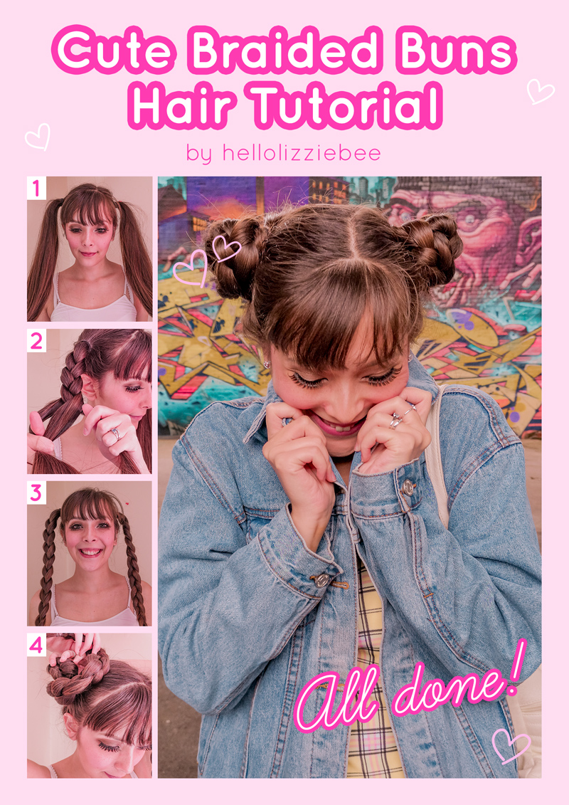 Cute (and easy) braided buns hair tutorial by hellolizziebee