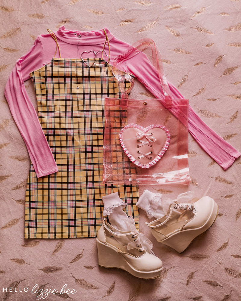 Kawaii pink outfit with checkered dress