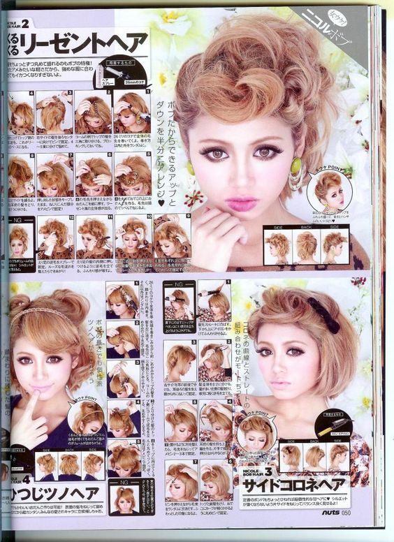 Short hair gyaru tutorials from jfashion magazine