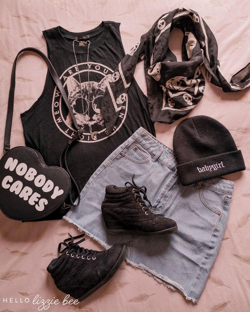 Rokku gyaru outfit idea