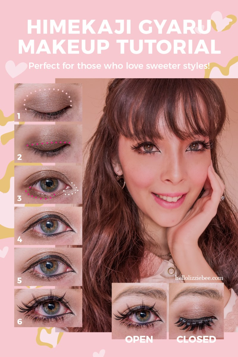 Himekaji makeup tutorial for soft gyaru styles by hellolizziebee