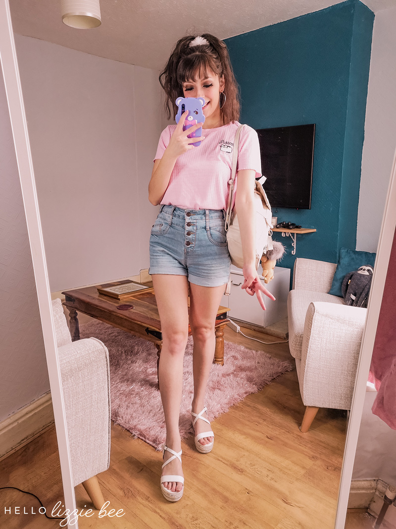 Cute and casual outfit with basic tee and jean shorts