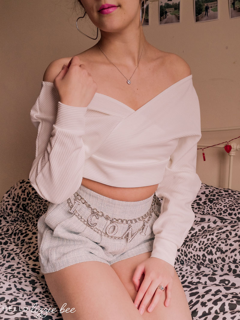 White ribbed off-shoulder crop top from FemmeLuxe via hellolizziebee