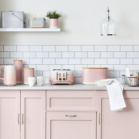 Pink and White Kitchen via Dunelm