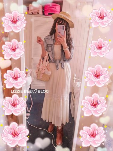 Casual himekaji outfit with white maxi dress