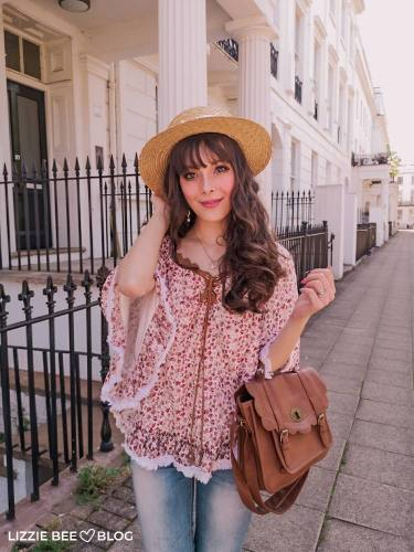 Summery Himekaji Outfit with Floral Blouse and Jeans