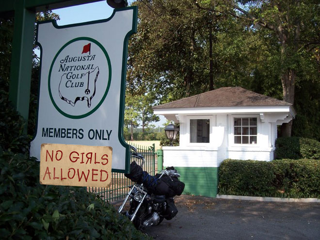 Augusta National doesn't allow girls. What losers. Just like the Bachelorette Men Tell All 2012 episode.