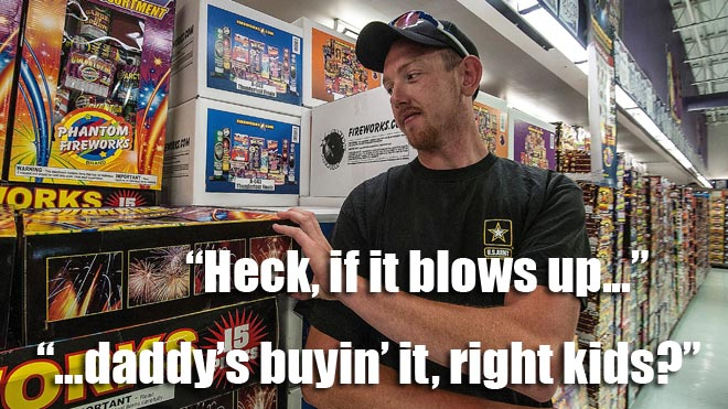 The cool dad buys fireworks for his kids.