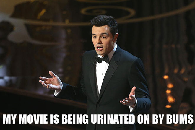 Seth MacFarlane hosts the 2013 Oscars and makes jokes about mis movie Ted.