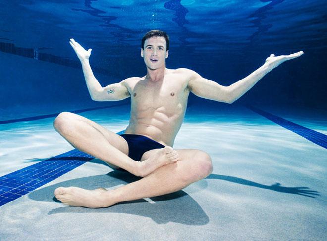 Ryan Lochte recreates Nirvana's Nevermind album cover for ESPN Magazine.