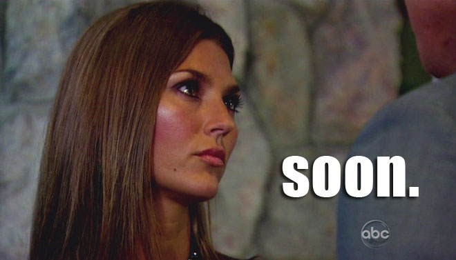 AshLee gives Sean Lowe a crazy look on the Bachelor when he broke up with her.