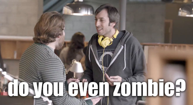 Dave explains the zombie thing in Samsung's Unicorn Apocalypse game ad.