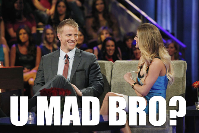 Sean Lowe and AshLee argue on the Bachelor Women Tell All.