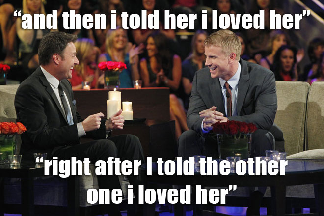 Sean Lowe talks to Chris on the Women Tell All the Bachelor.