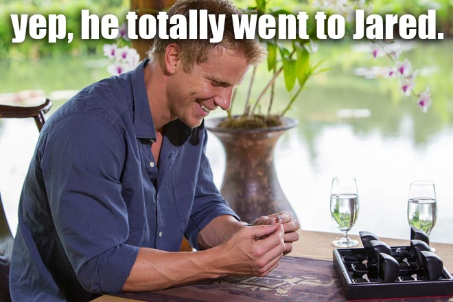 Sean Lowe picks out wedding rings on the Bachelor.