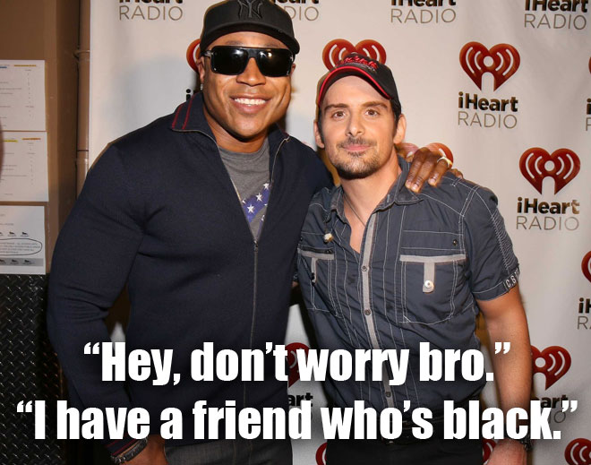 LL Cool J and Brad Paisley sing the Accidental Racist song.