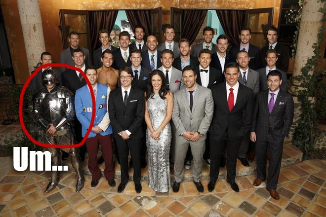 The Bachelors pose with Bachelorette Desiree on the 9th season of the Bachelorette on ABC.