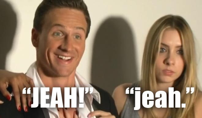 Ryan Lochte poses for a photo shoot with 3 women models on WWRLD.