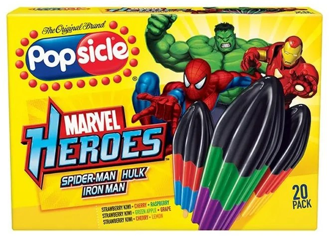 The slow melt popsicle has superheroes.