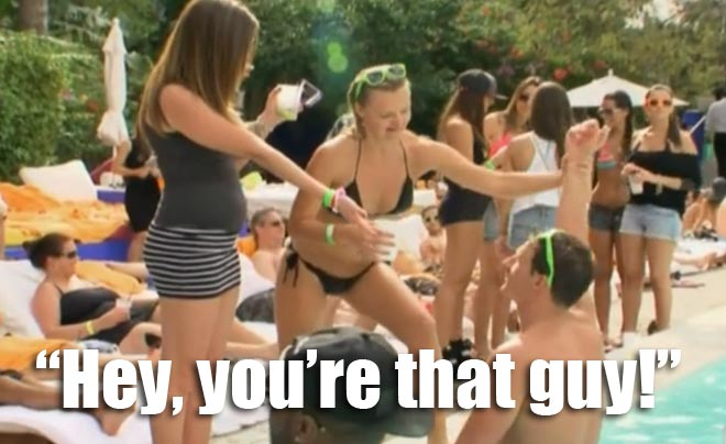 "A girl tells Ryan Lochte ""you're that guy"" in the pool during spring break in Miami on WWRLD."