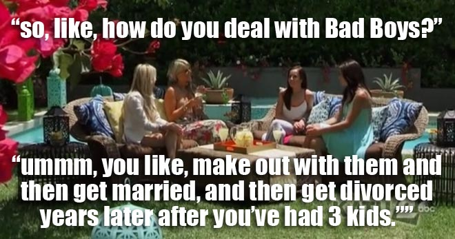 Desiree meets with Ali, Emily and Ashley on how to deal with bad boys on the bachelorette men tell all.