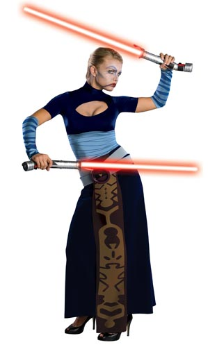 A sexy Star Wars Jedi Halloween costume.