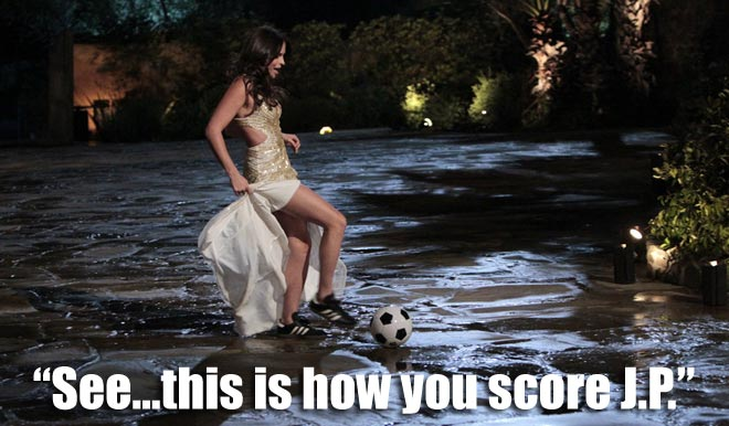 Alli brings a soccer ball for her gimmick on the Bachelor Juan Pablo.