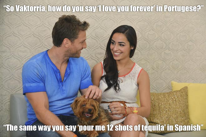 Bachelor Juan Pablo and Victoria talk with a dog.
