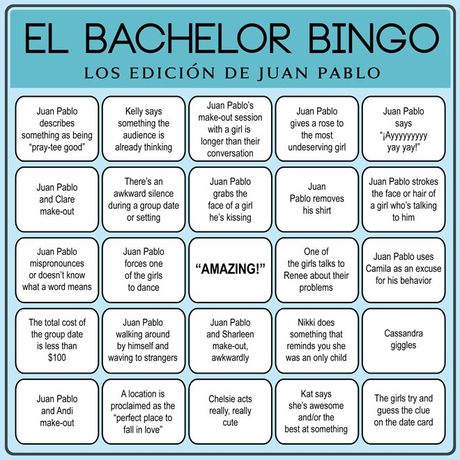 Play Bachelor Bingo Juan Pablo edition.
