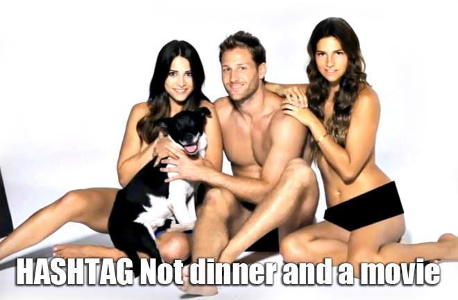 The Bachelor Juan Pablo, Andi and Lucy pose naked for dogs during their group date on the Bachelor.