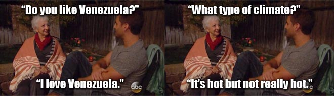 The Bachelor Juan pablo talks to Clare's mom in Spanish.