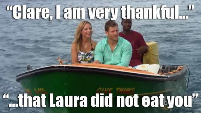 The Bachelor Juan Pablo and Clare ride a boat in St. Lucia.
