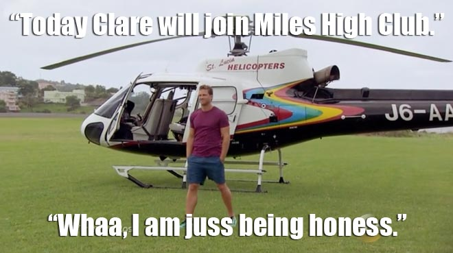 Juan Pablo and Clare go on a helicopter ride.