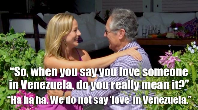 Clare talks to Juan Pablo's dad.