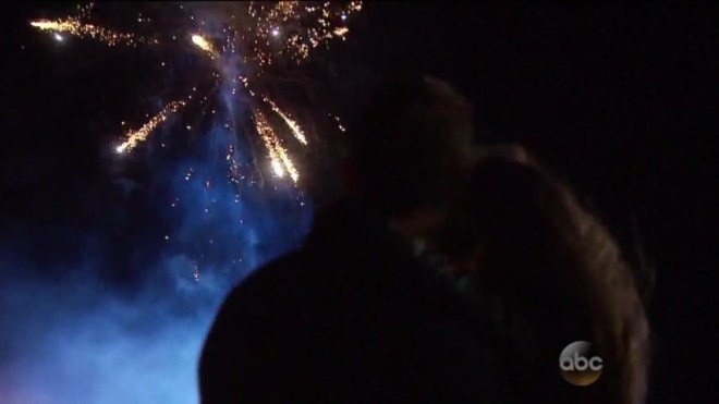 robby and JoJo watch fireworks after they kiss on their date on the bachelorette.